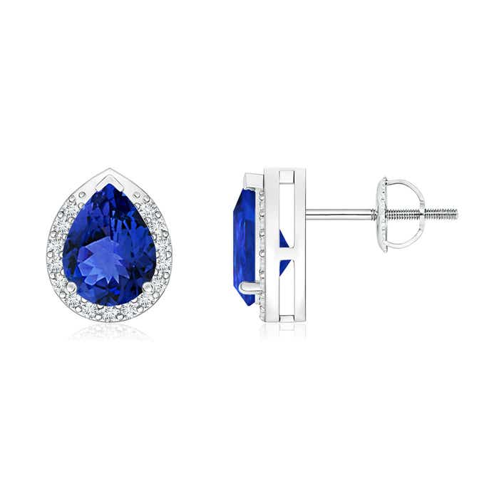 Angara White Gold Pear Shaped Tanzanite Earrings ZFjk5qURlG