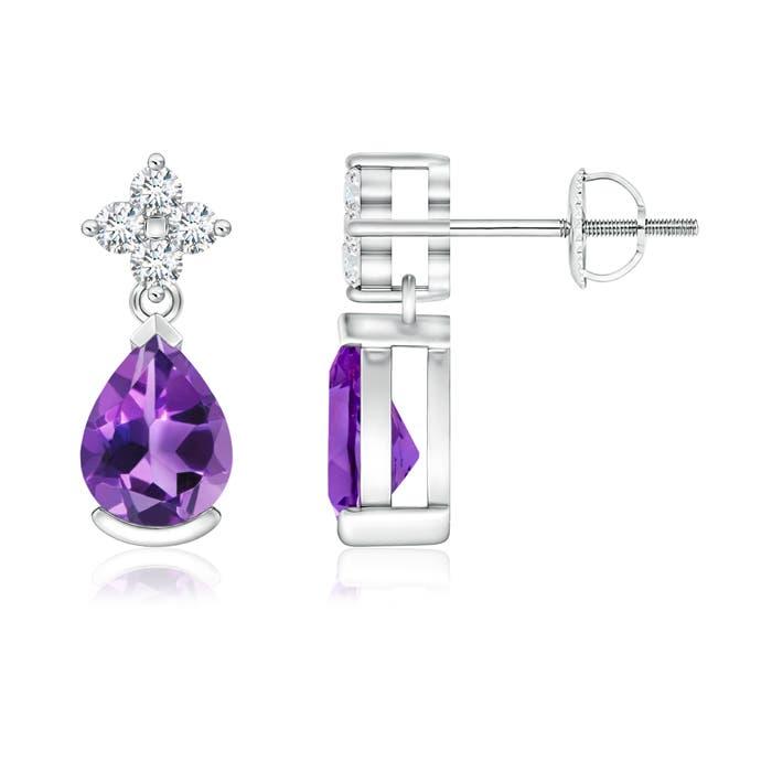 Pear Amethyst Teardrop Earrings with Diamond Flower - Angara.com