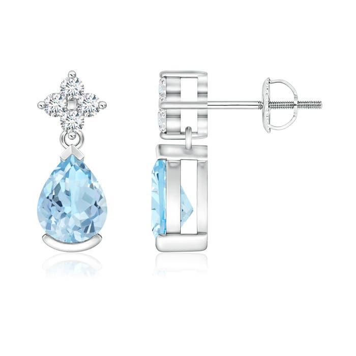 Pear-Shaped Aquamarine Drop Earrings with Diamonds - Angara.com