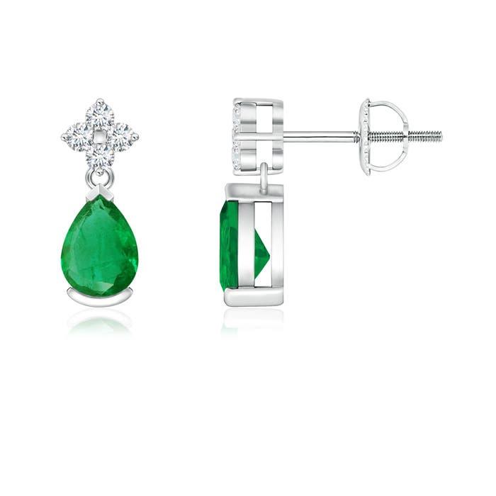 Angara Emerald J-Hoop Earrings in Rose Gold bhpB1hP