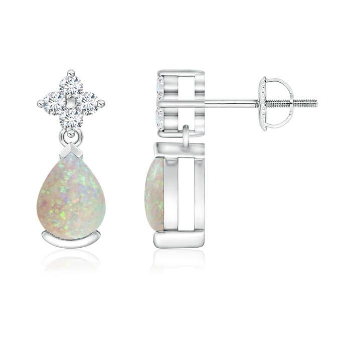 Pear-Shaped Opal Drop Earrings with Diamonds - Angara.com