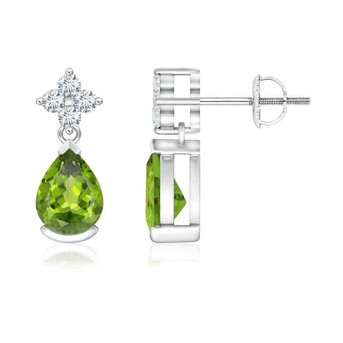 Pear-Shaped Peridot Drop Earrings with Diamonds - Angara.com