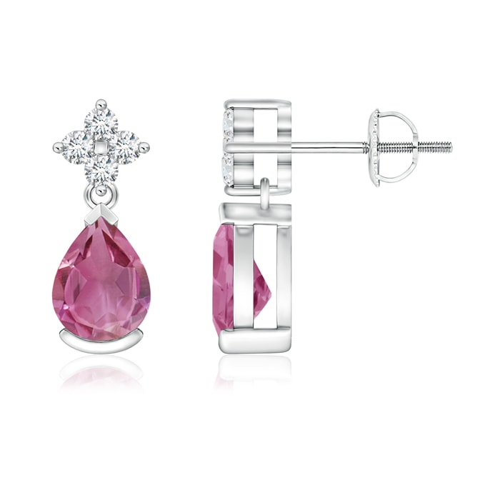 Pear Pink Tourmaline Teardrop Earrings with Diamond Flower - Angara.com