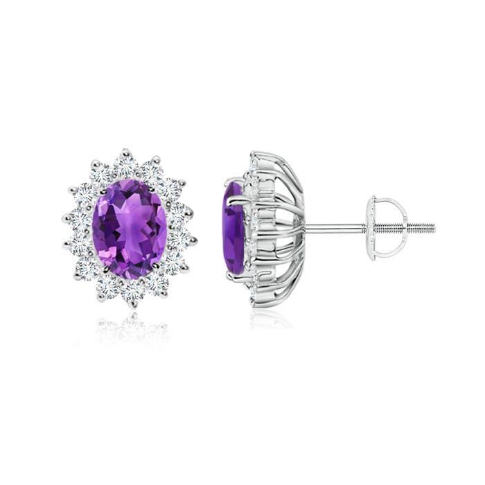 Oval Amethyst Flower Stud Earrings with Diamond Halo - Angara.com
