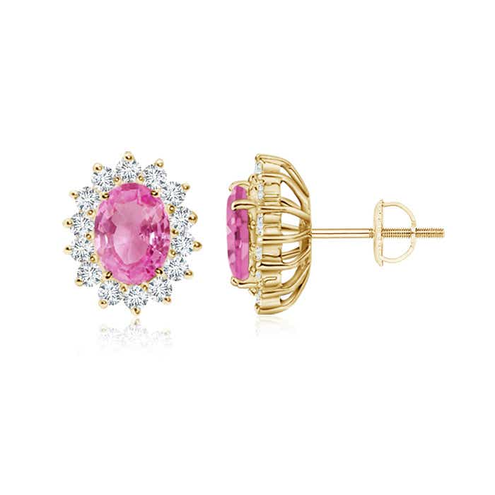 Angara Pink Sapphire Halo Studs in White Gold lw2aTBFHQ