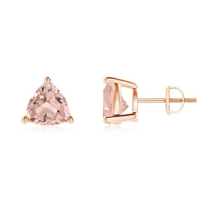Basket-Set Trillion Morganite Stud Earrings - Angara.com