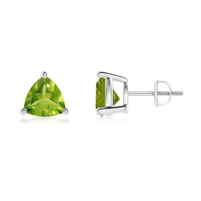 Basket-Set Trillion Peridot Stud Earrings - Angara.com