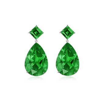 Square & Pear Shaped Lab Created Emerald Drop Earrings - Angara.com
