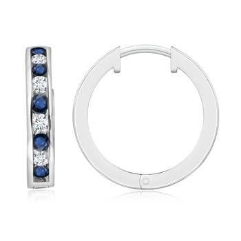 Channel-Set Blue Sapphire and Diamond Hinged Hoop Earrings - Angara.com