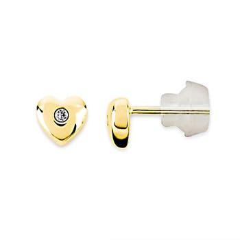 Gypsy Set Heat Shaped Diamond Stud Earrings for Baby in 18K Yellow Gold - Angara.com