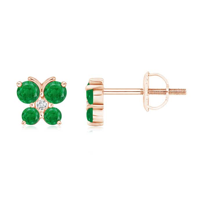Round-Cut-Emerald-Diamond-Butterfly-Stud-Earrings-14K-White-Gold