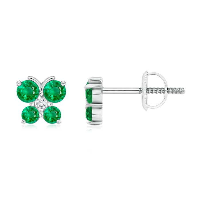 Emerald Butterfly Stud Earrings with Diamond - Angara.com