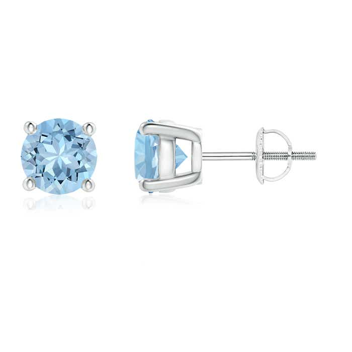 Round Aquamarine Stud Earrings - Angara.com