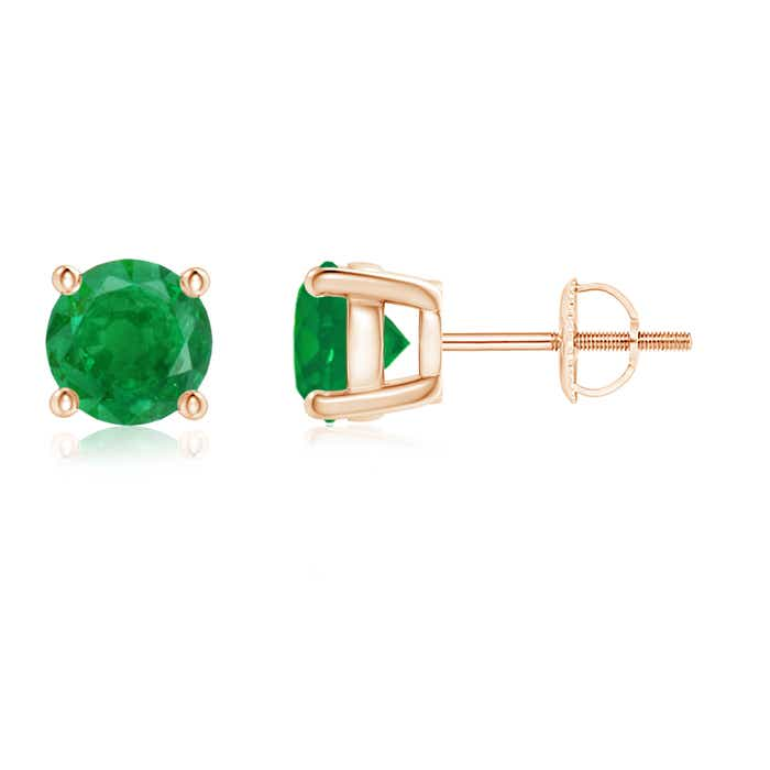 4-MM-Solitaire-Round-Cut-Natural-Emerald-Stud-Earrings-14k-White-Gold