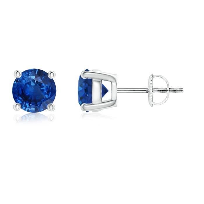 Round Blue Sapphire Stud Earrings - Angara.com