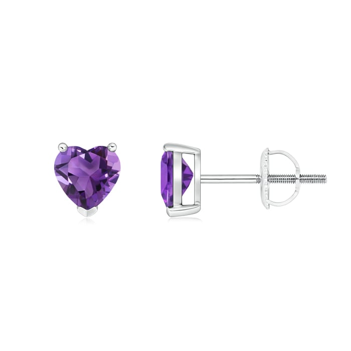 Angara Solitaire Amethyst Earrings in Yellow Gold vqyWoVFA4