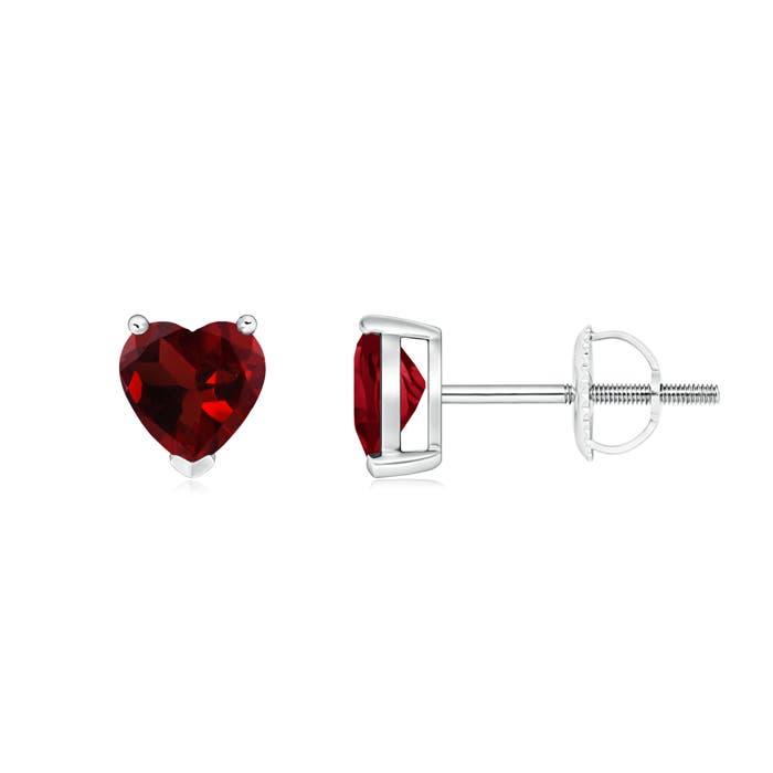 Three Prong-Set Solitaire Garnet Heart Stud Earrings - Angara.com