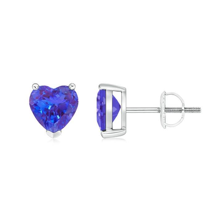 Tanzanite Solitaire Heart Stud Earrings - Angara.com