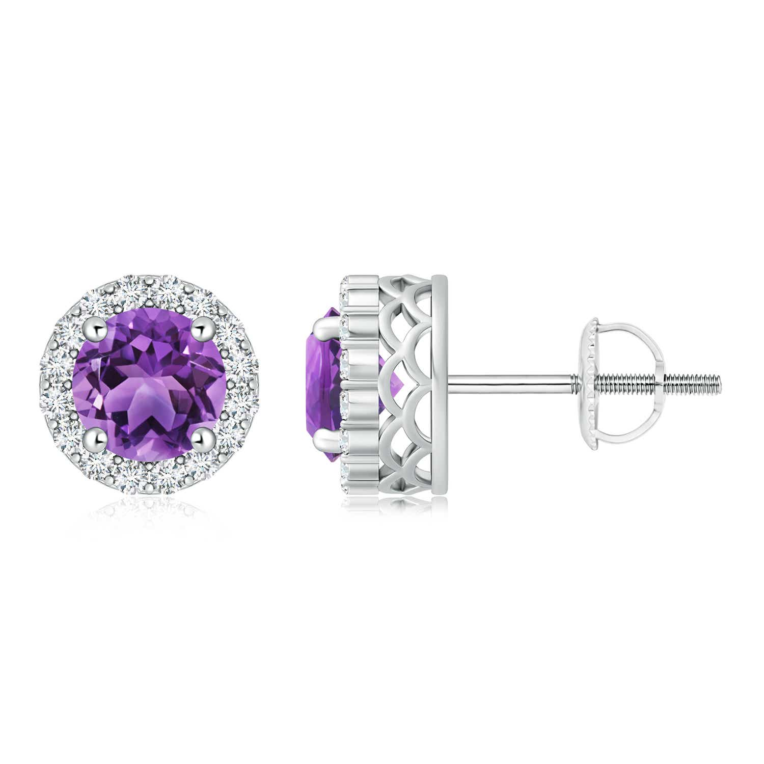 Angara Round Amethyst Stud Earrings with Diamond Halo in White Gold azyB9Q1hm