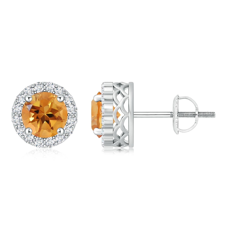 Angara Citrine and Diamond Halo Vintage Stud Earrings in Platinum MeNchCx3LJ
