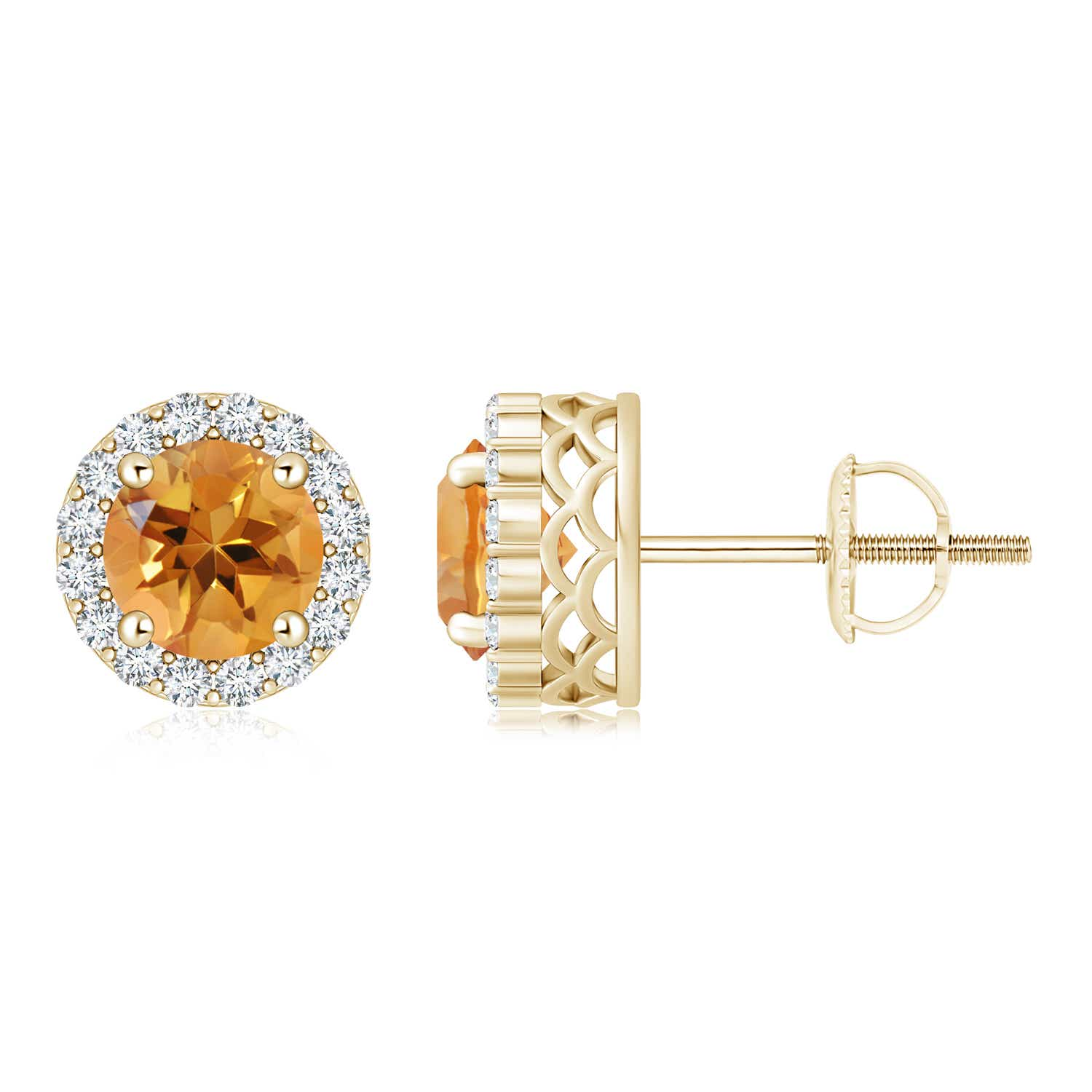 Angara Natural Citrine Halo Vintage Stud Earrings in White Gold froluV3n7C