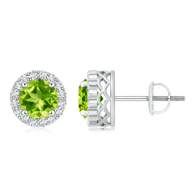 Angara Round Peridot and Diamond Halo Stud Earrings in Yellow Gold lxQWvm