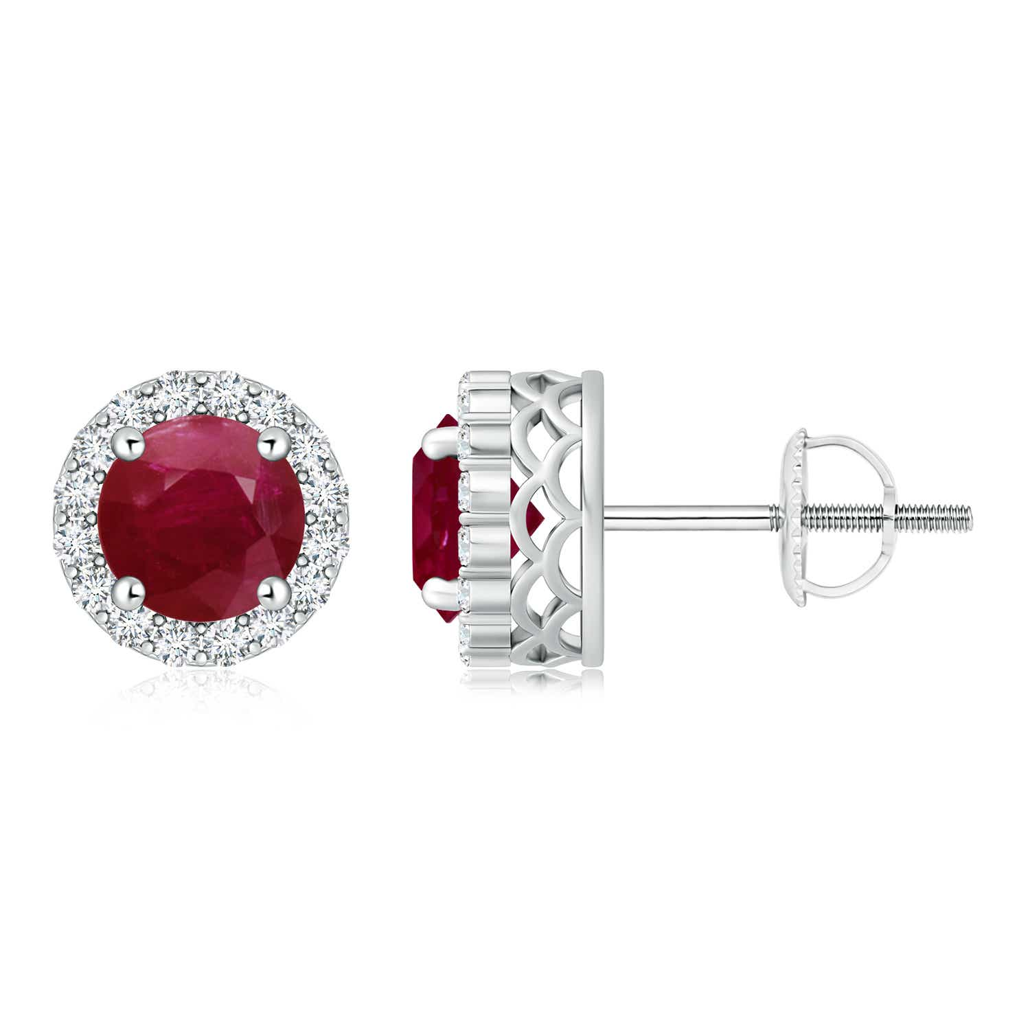 Angara Round Ruby Studs for Women in 14k Yellow Gold CLQWMx8dUC