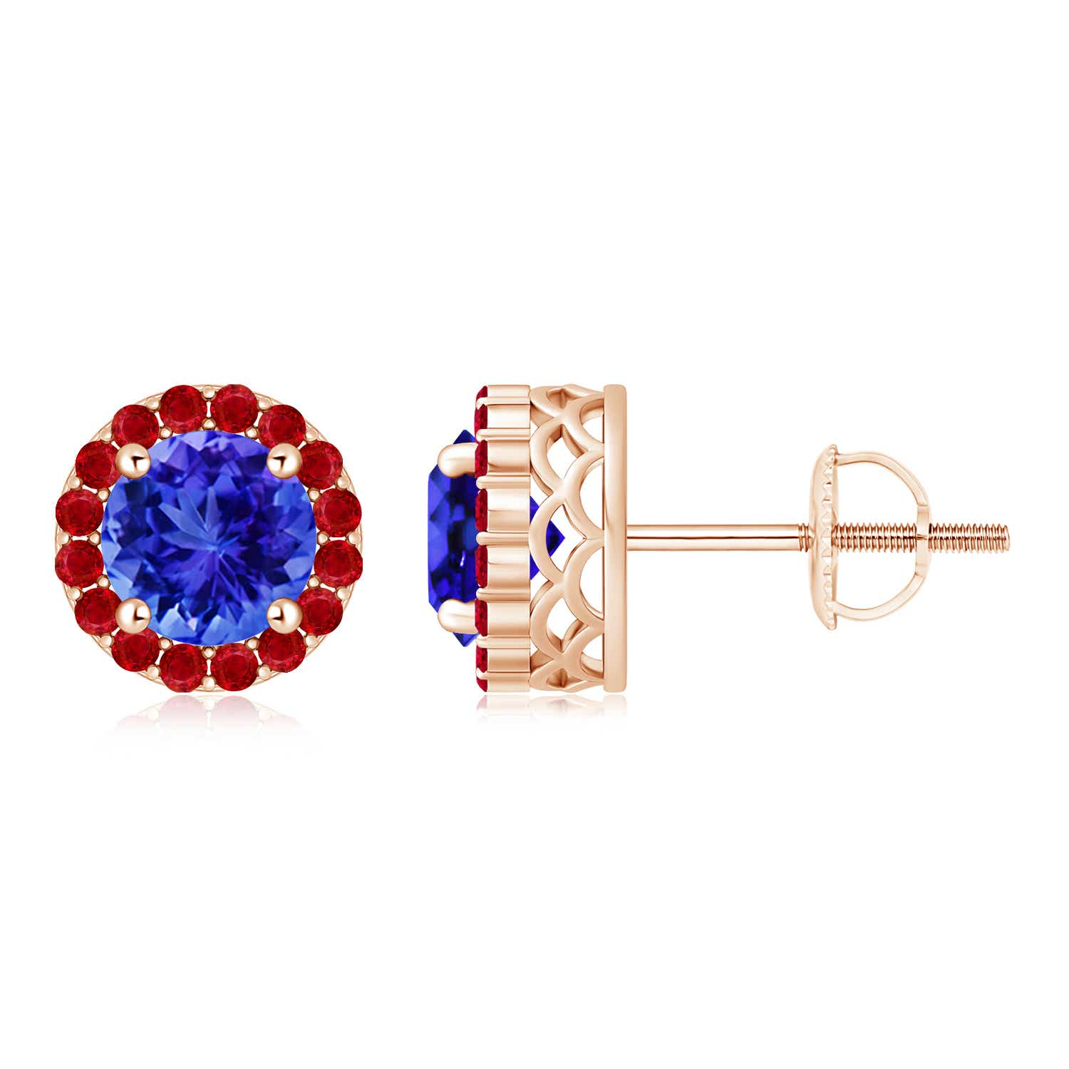 Round Tanzanite and Ruby Halo Stud Earrings - Angara.com