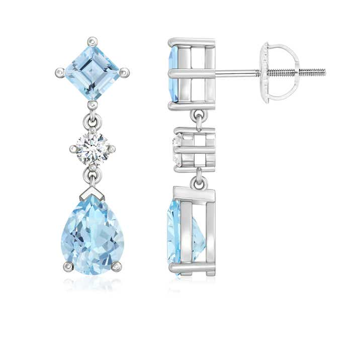 Angara Aquamarine, Tanzanite and Diamond Dangle Earrings in White Gold