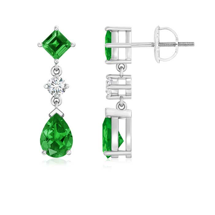Pear and Square Lab Created Emerald Teardrop Earrings with Diamond - Angara.com