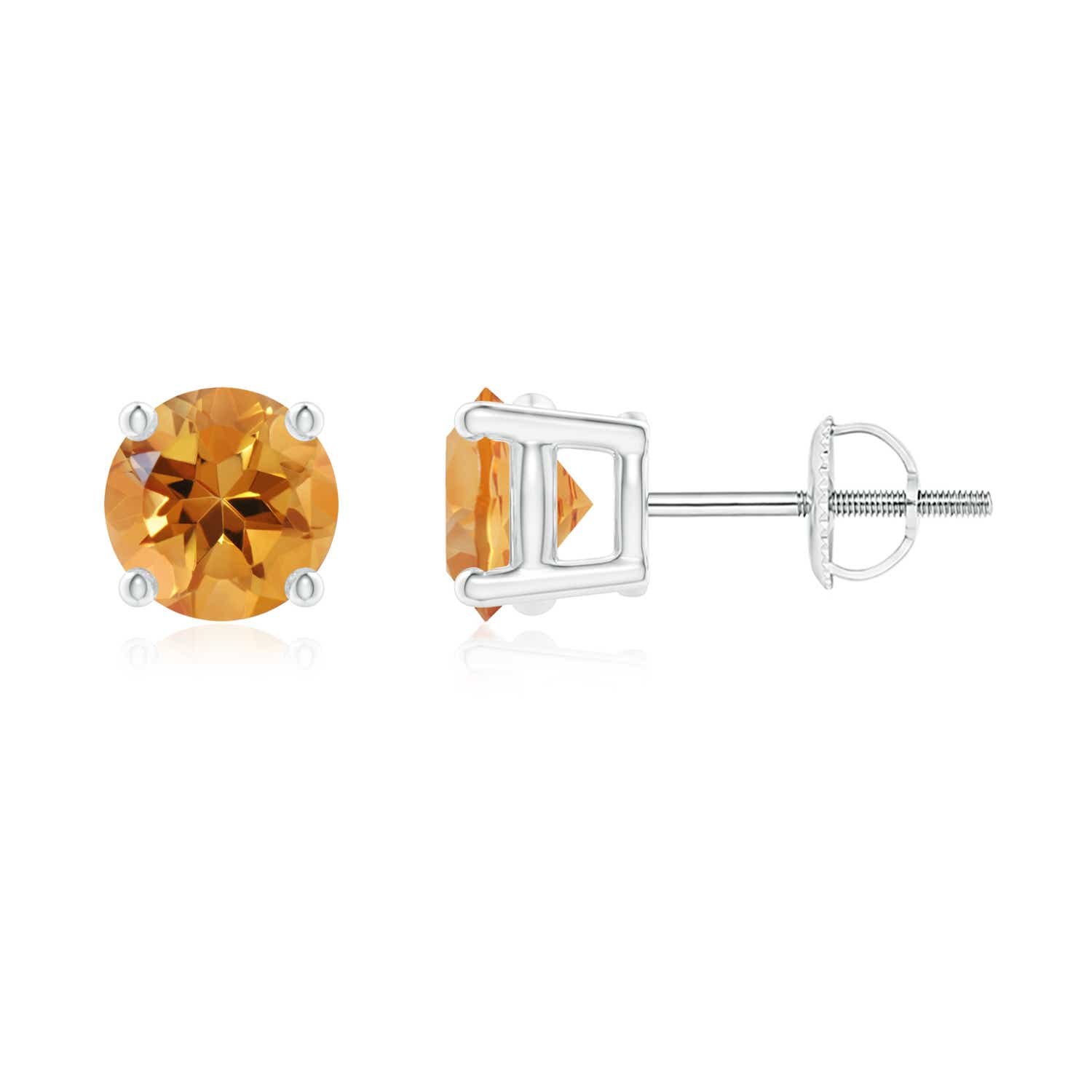 Angara Citrine Basket Stud Earrings in Yellow Gold TKlnga