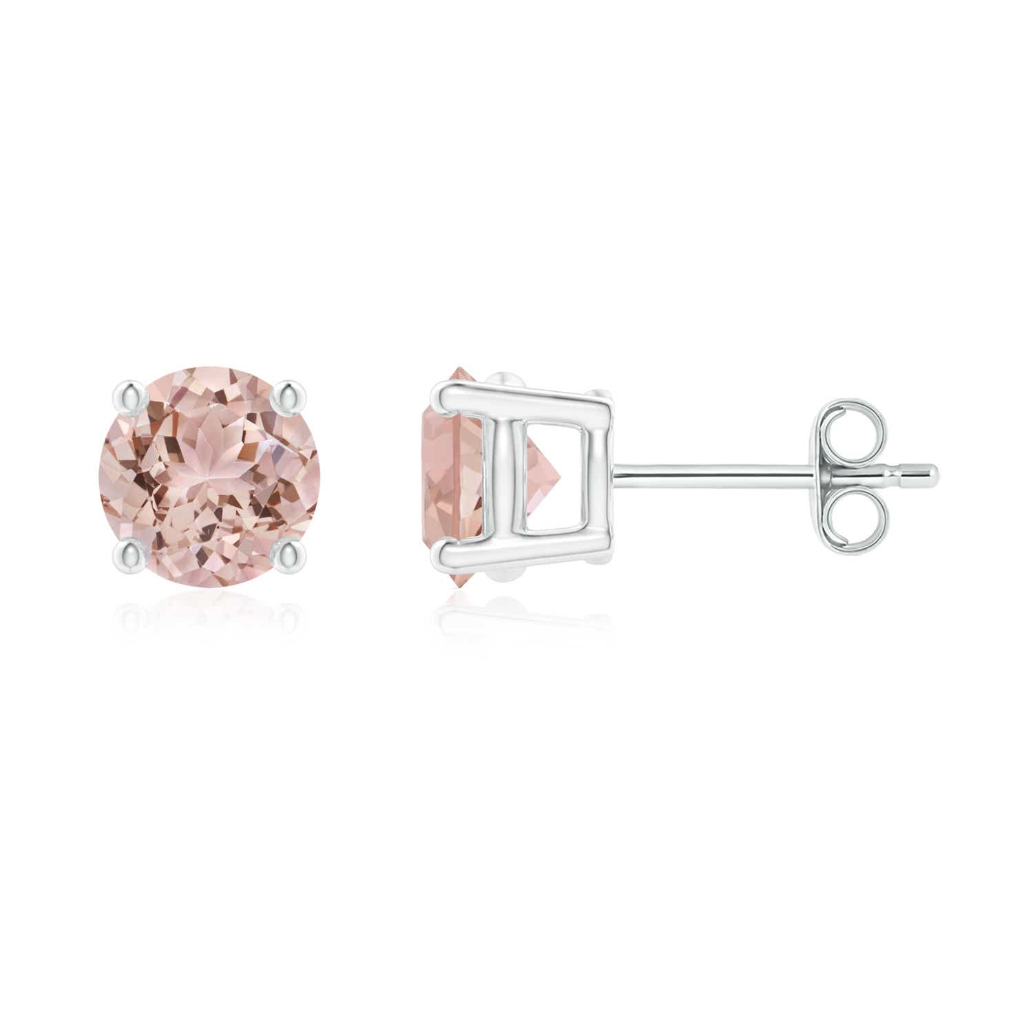 rose morganite gold stud earrings pin