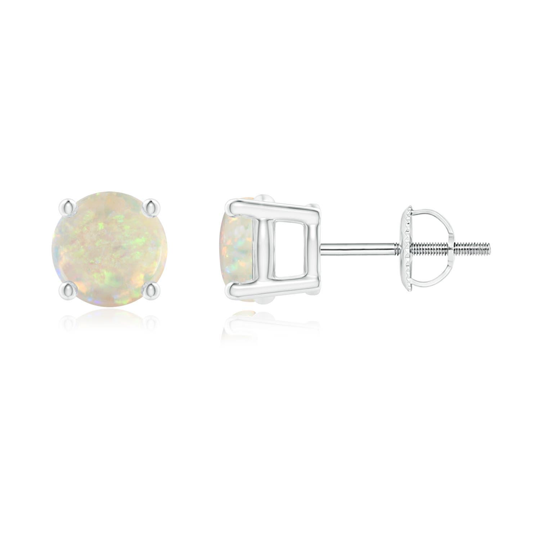 Basket-Set Round Opal Stud Earrings - Angara.com