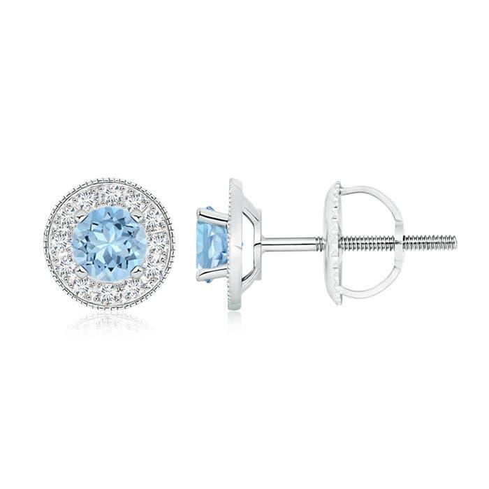 Aquamarine Margarita Stud Earrings with Diamond Halo  - Angara.com