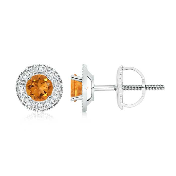Citrine Margarita Stud Earrings with Diamond Halo  - Angara.com
