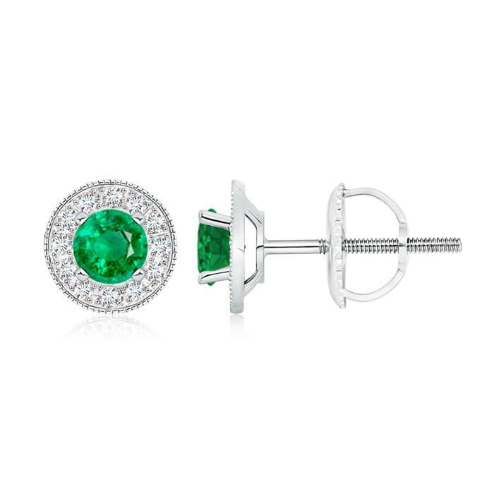 Emerald Margarita Stud Earrings with Diamond Halo  - Angara.com
