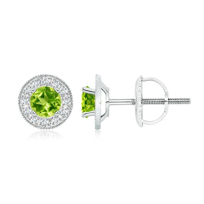 Peridot Margarita Stud Earrings with Diamond Halo  - Angara.com