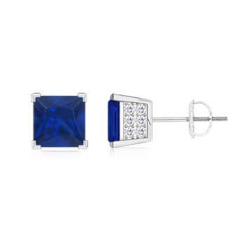 square blue sapphire stud earrings with diamond accents