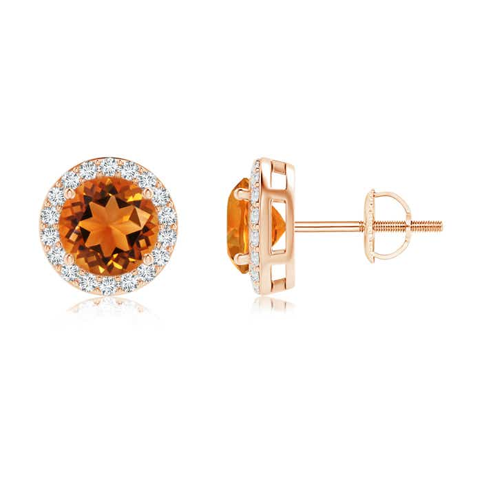 Angara Prong Set Diamond Halo Citrine Stud Earrings in Rose Gold nBkTyGIRYh