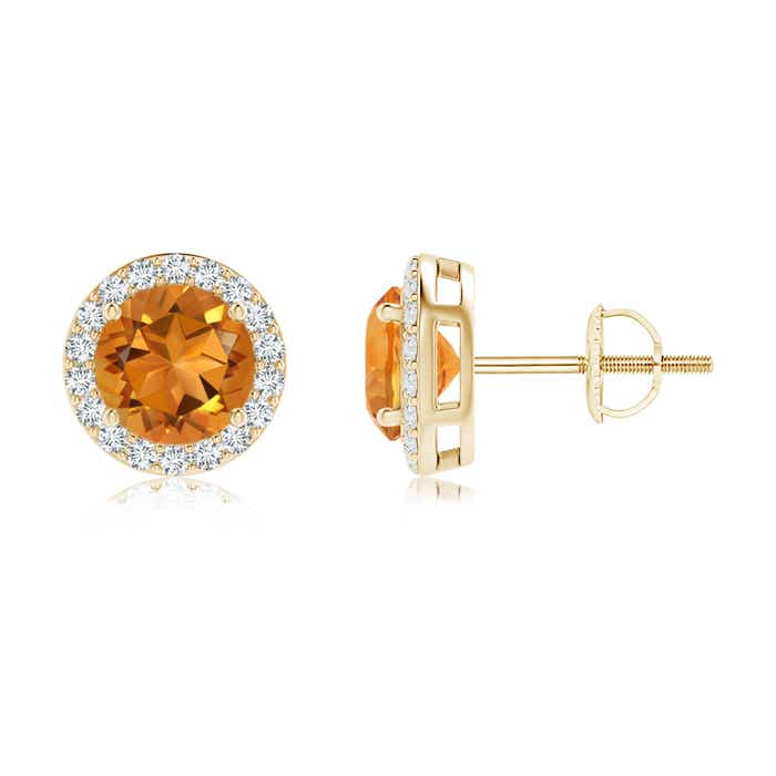 Angara Citrine and Diamond Halo Vintage Stud Earrings in Rose Gold HNCS6y