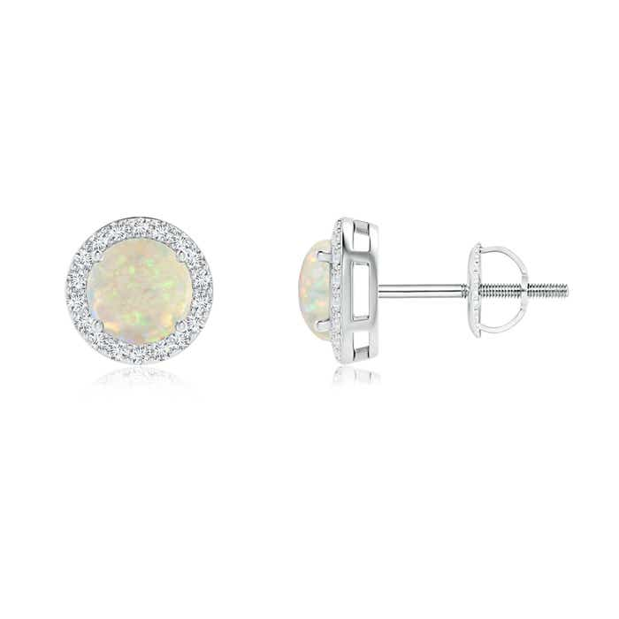 Angara Natural Opal Halo Vintage Stud Earrings in White Gold x79eh1UO
