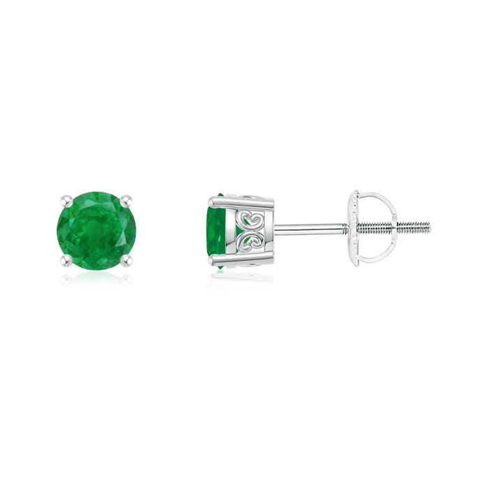 Vintage-Style-Round-Emerald-Solitaire-Stud-Earrings-14K-White-Gold