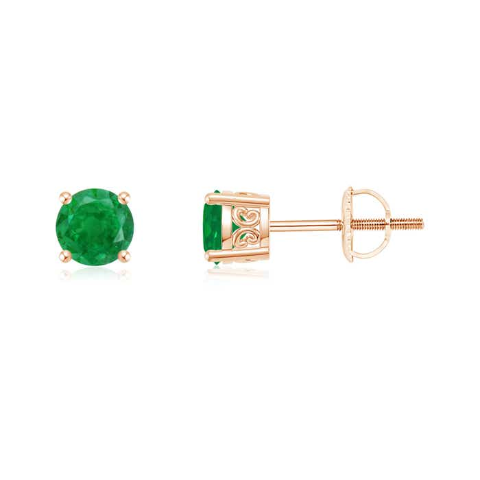 Angara Solitaire Emerald Stud Earrings in White Gold JvAUw