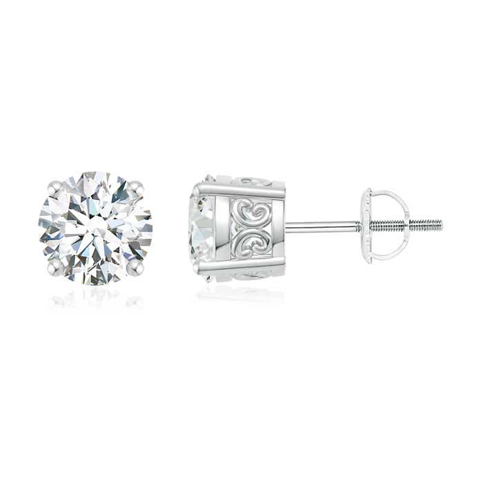 Angara Vintage Style Round Moissanite Solitaire Earrings 3lvaZU