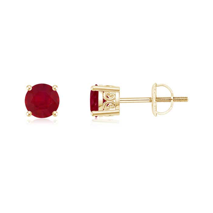 Angara Vintage Ruby Solitaire Earrings in Yellow Gold dRantuTx