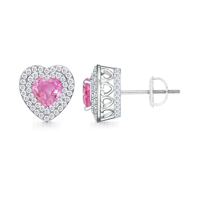 Vintage Style Pink Sapphire Double Halo Heart Stud Earrings - Angara.com