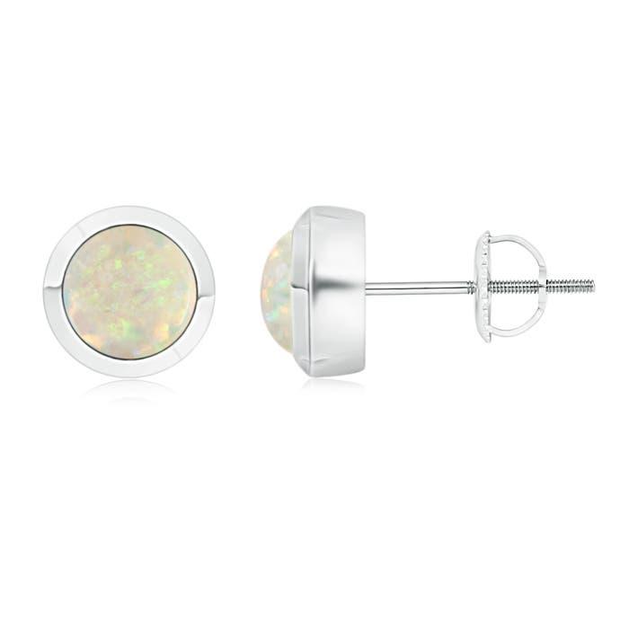 Bezel-Set Round Cabochon Opal Stud Earrings - Angara.com