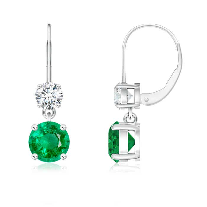 Angara Round Emerald and Diamond Leverback Earrings BjMdd7bQ