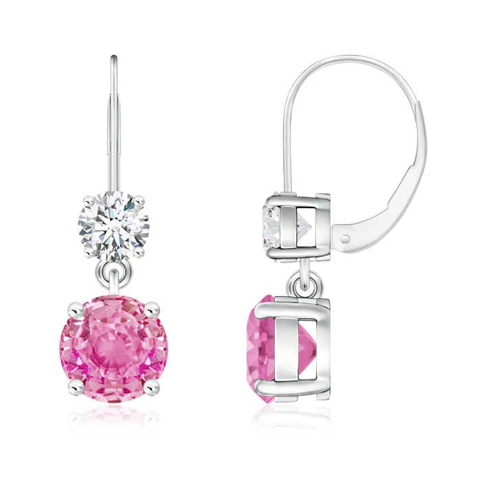 Round Pink Sapphire Leverback Dangle Earrings with Diamond - Angara.com