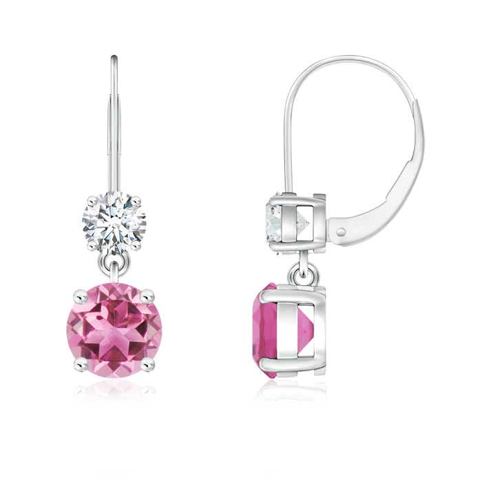 Angara Round Pink Tourmaline Dangle Earrings with Diamond Halo in White Gold